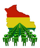 Lines of people with Bolivia map flag illustration