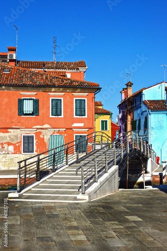 Bridge and colourful houses in Burano, Venice,Italy