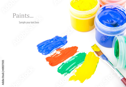 Color paint strokes with brushes isolated on white, vector