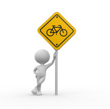 Yellow road sign - bicycle