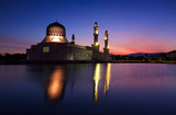 Long exposure shot of Kota Kinabalu mosque at sunrise