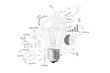 Creative light bulb idea with drawing business success