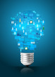 Creative light bulb with technology business network concept
