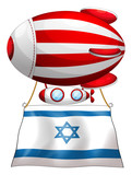 The flag of Israel attached to the floating stripe-colored ballo