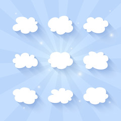 Cloud icon set on a blue