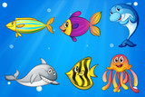 Six colorful smiling fishes under the sea