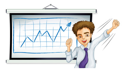 A businessman in front of the board with a graph