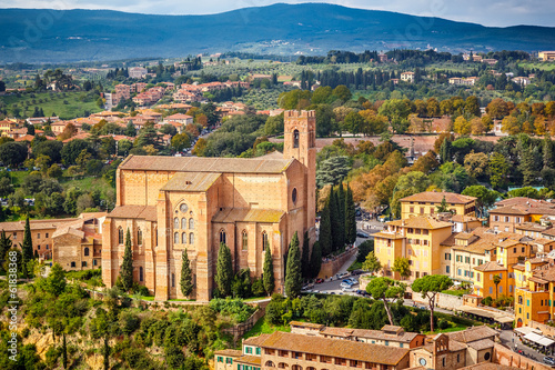 Aerial view over Siena