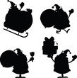 Santa Claus Cartoon Silhouettes