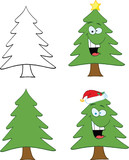 Christmas Tree Cartoon Character. Set Collection