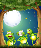 Three playful frogs playing at the woods