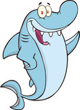 Happy Shark Cartoon Character Waving
