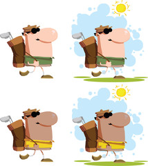 Walking Golfer Cartoon Characters. Set Collection