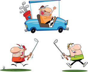 Happy Golfers Cartoon Characters. Set Collection