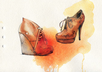 Shoes .Autumn style. Hand painted fashion illustration