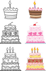 Cartoon Cakes. Set Collection
