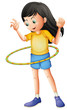 A young girl playing with a hulahoop