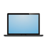 laptop open blue screen white background