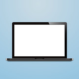 laptop open blank screen blue background