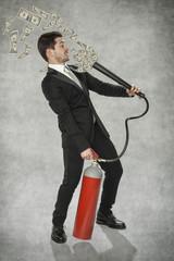 businessman holding a money-making machine