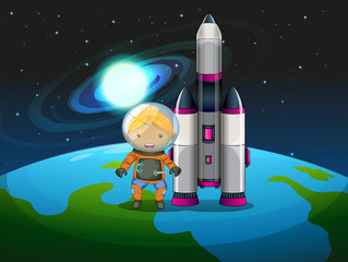 An explorer beside the rocket standing above the earth