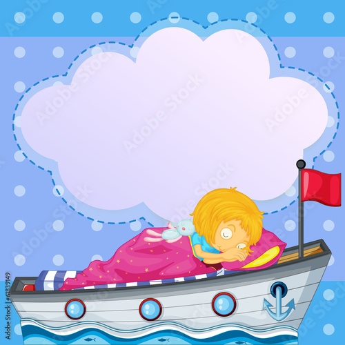 A girl sleeping above the boat with an empty callout