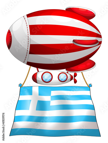 The flag of Greece attached to the floating balloon