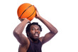 Basketball player isolated over white background