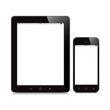 tablet and smartphone blank screen mockup white background poster