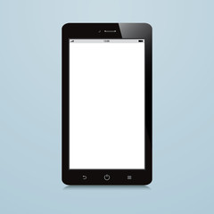 smartphone with white blank screen on blue background