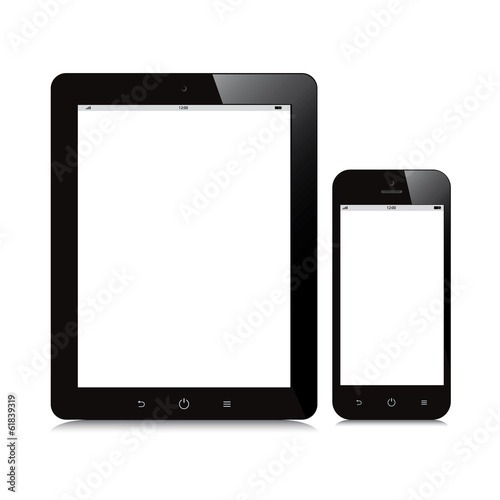 tablet and smartphone blank screen mockup white background