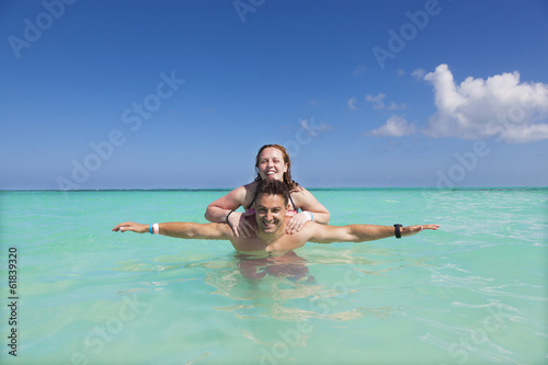 Couple enjoying summer vacation at Riviera Maya, Mexico