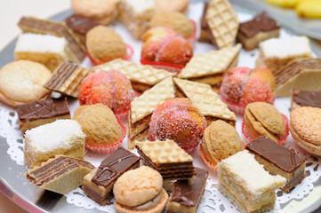 Diversity of dessert pastry closeup