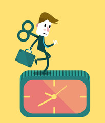 Businessman running on the clock.  Business concept.