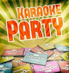 Karaoke party vintage poster design Retro