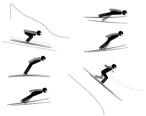 Ski jumping - pictogram set