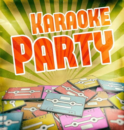 Karaoke party vintage poster design Retro