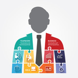 businessman infographic Template jigsaw banner . concept vector