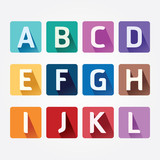 Vector Alphabet colorful Font with Sahdow Style. Illustration.