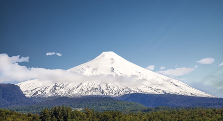 Snow covered Volcano Villarica, Chile