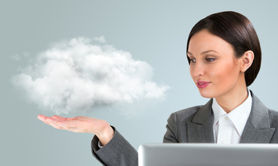 Business woman using cloud services