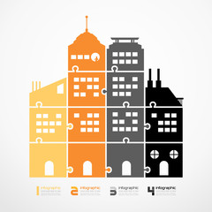 infographic Template city tower jigsaw banner . concept vector i