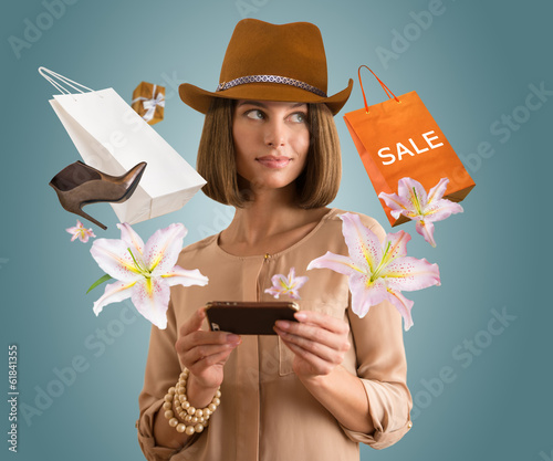 Woman shopping in app using her smartphone