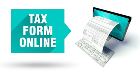 Tax form online network computer with invoice
