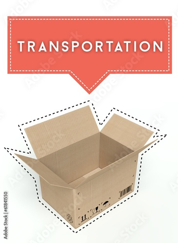 Transportation concept open cardboard box