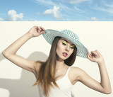 woman with fashion spring hat