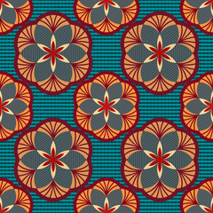 Seamless color geometric flowers wallpaper