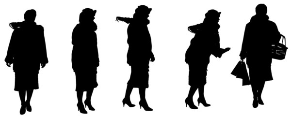 Vector silhouette of a old woman.