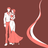 Wedding couple. red vector