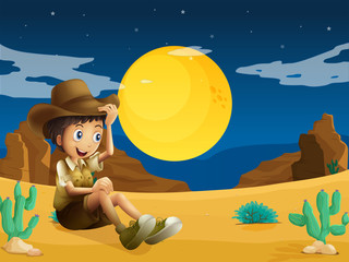 A young explorer at the dessert